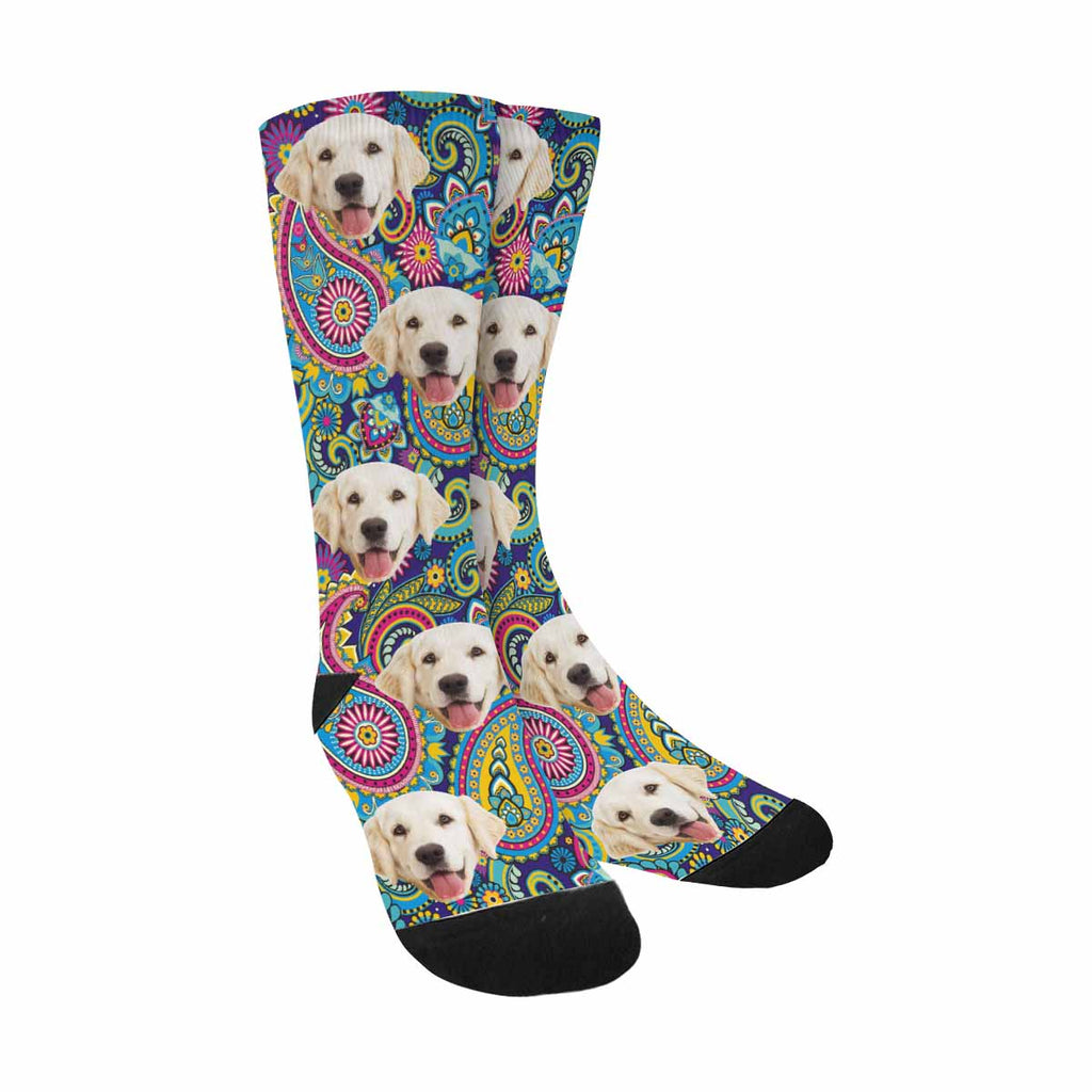 Custom Printed Picture Traditional Asian Paisley Dog Socks
