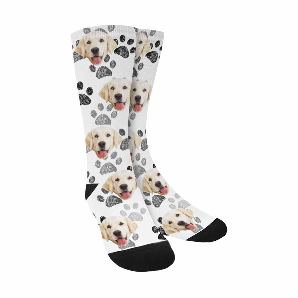 Personalized Picture Paw Print Pup Socks, Black White