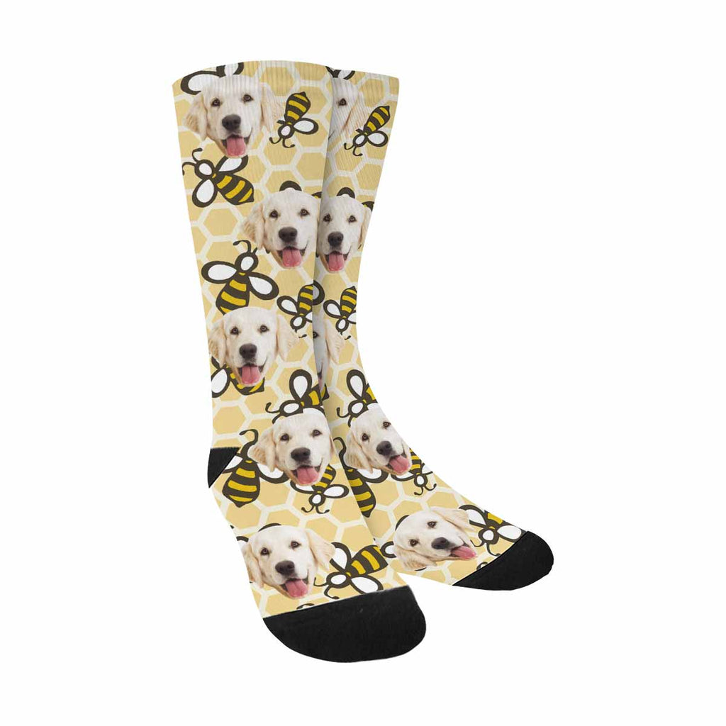 Custom Printed Photo Cartoon Honey Bees Pet Socks