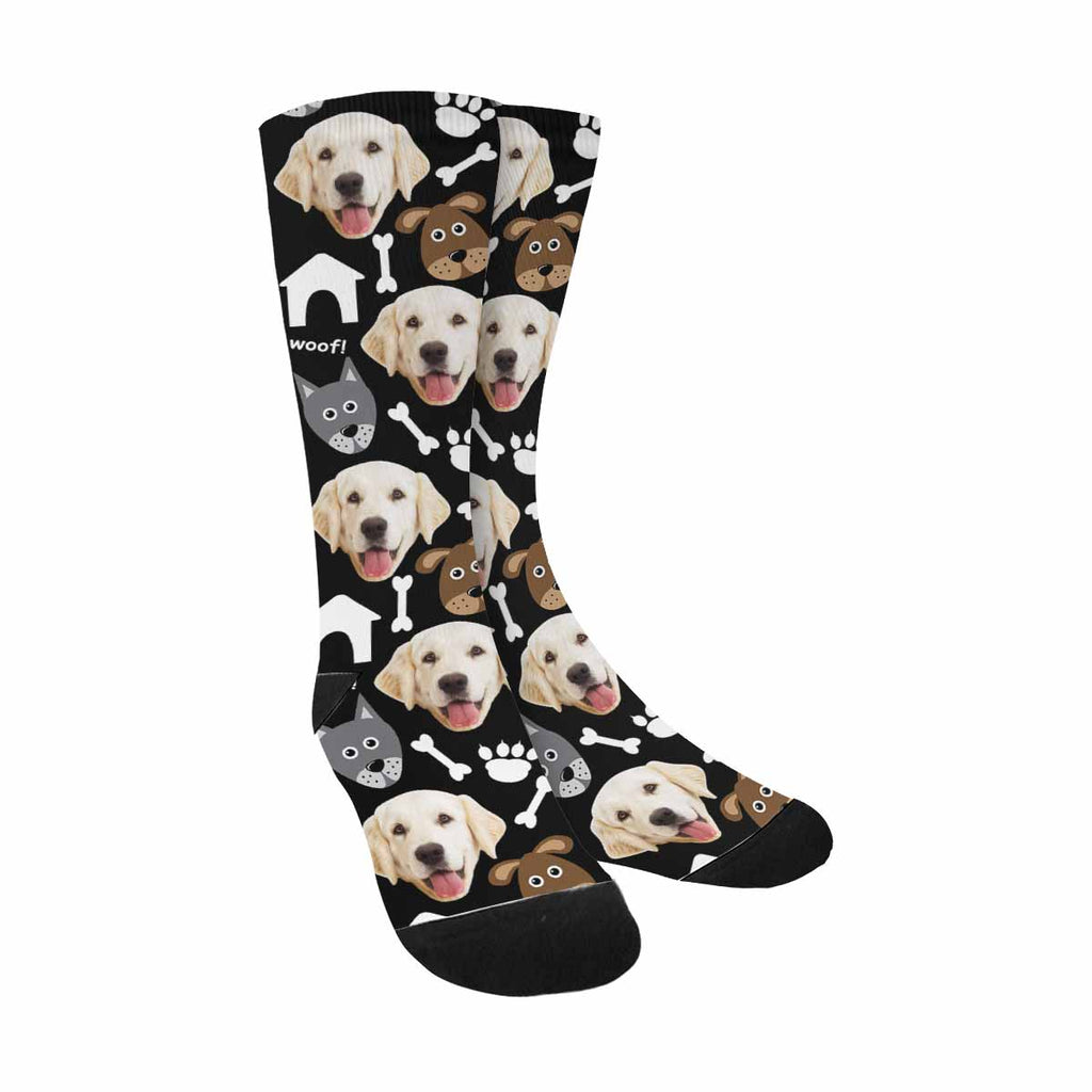 Custom Printed Photo Cartoon Woof and Dog Bones Pup Socks, Paws and Bones