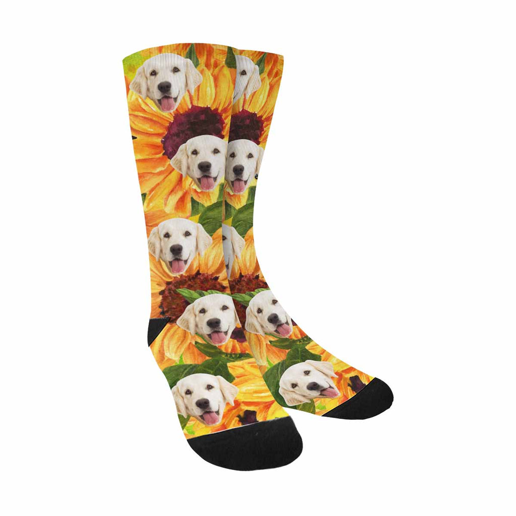 Custom Printed Photo Sunflower Pet Socks, Sunset