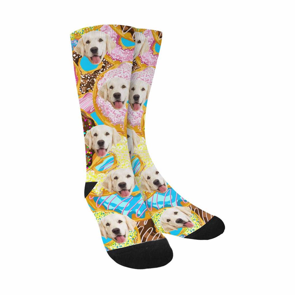 Custom Printed Photo Colorful Donuts Pup Socks, Glaze and Sprinkles
