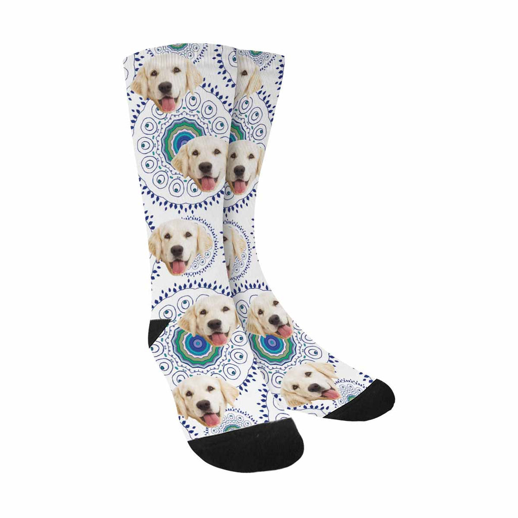 Custom Printed Photo Feather Peacock Pet Socks