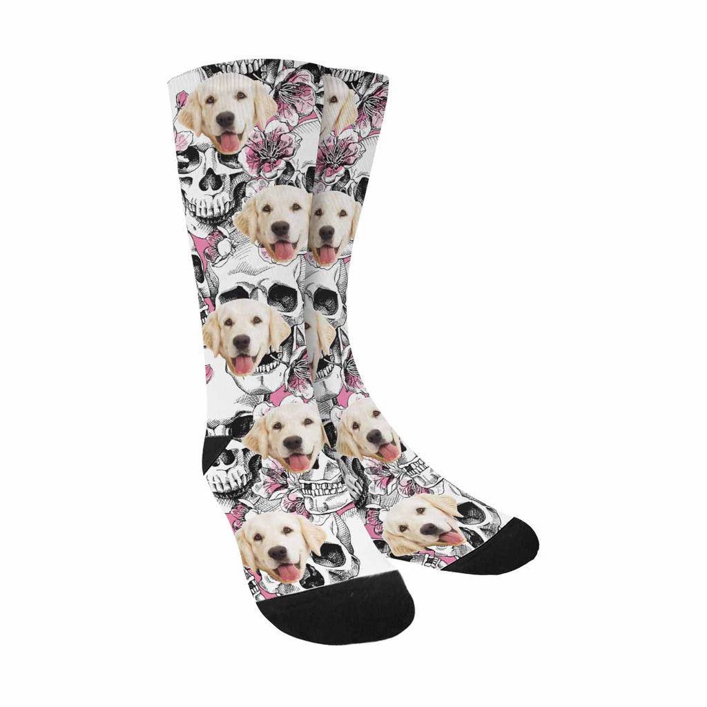 Custom Photo Skull Dog Socks, Flowers Pink Cherry