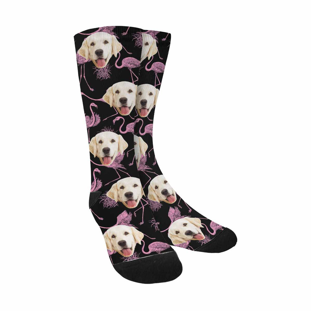 Custom Printed Photo Pink Flamingo Dog Socks, Birds