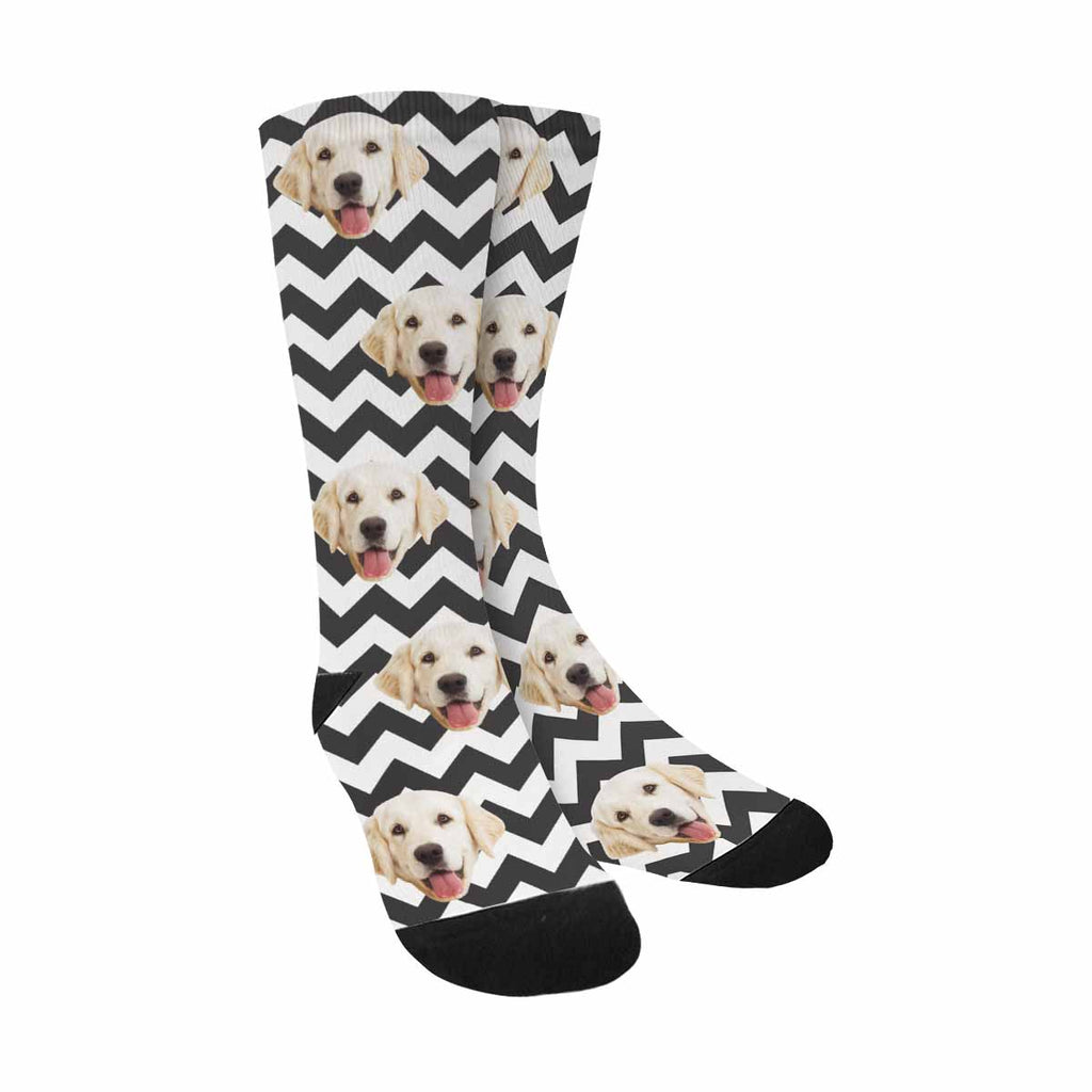 Custom Printed Photo Zig Zag Pup Socks, Black And White Chevron
