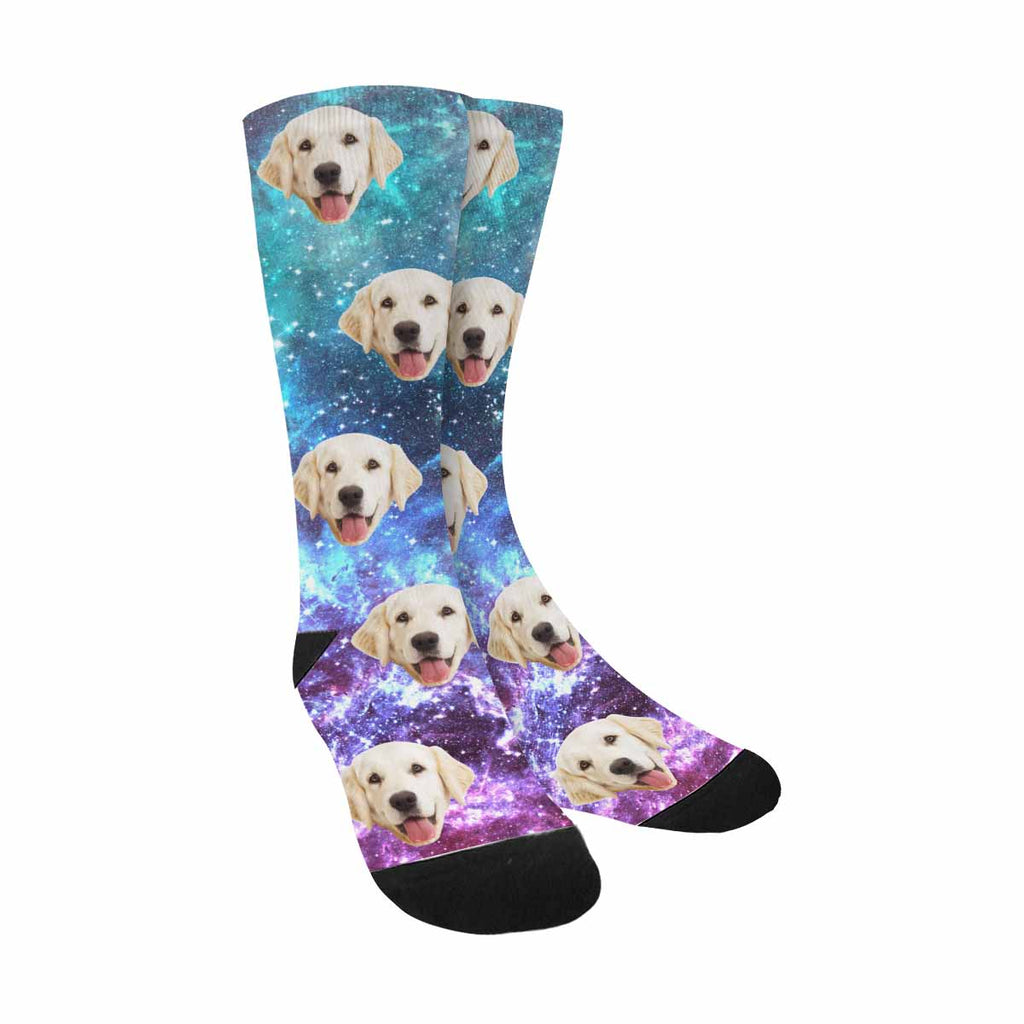 Custom Printed Photo Star Field in Space Dog Socks, Nebulae
