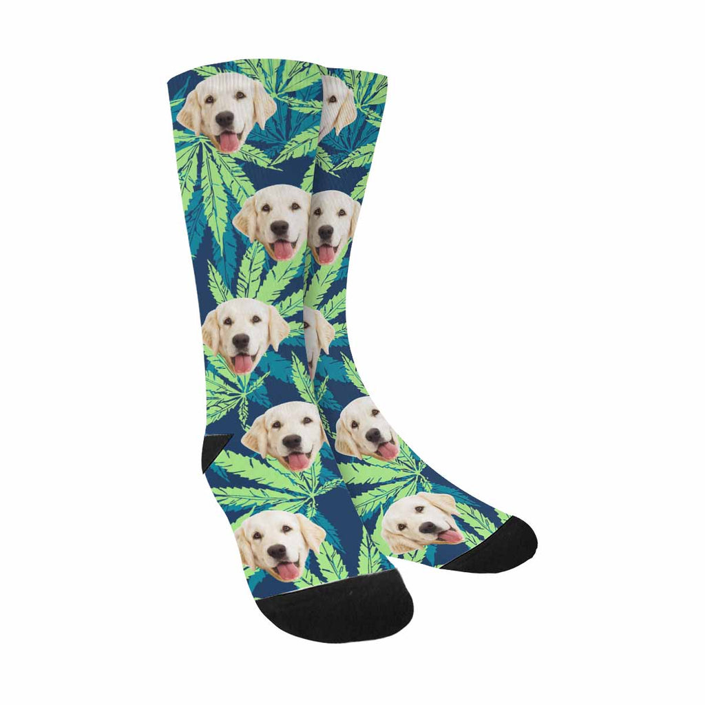 Personalized Picture Tropical Leave Dog Socks, Marijuana