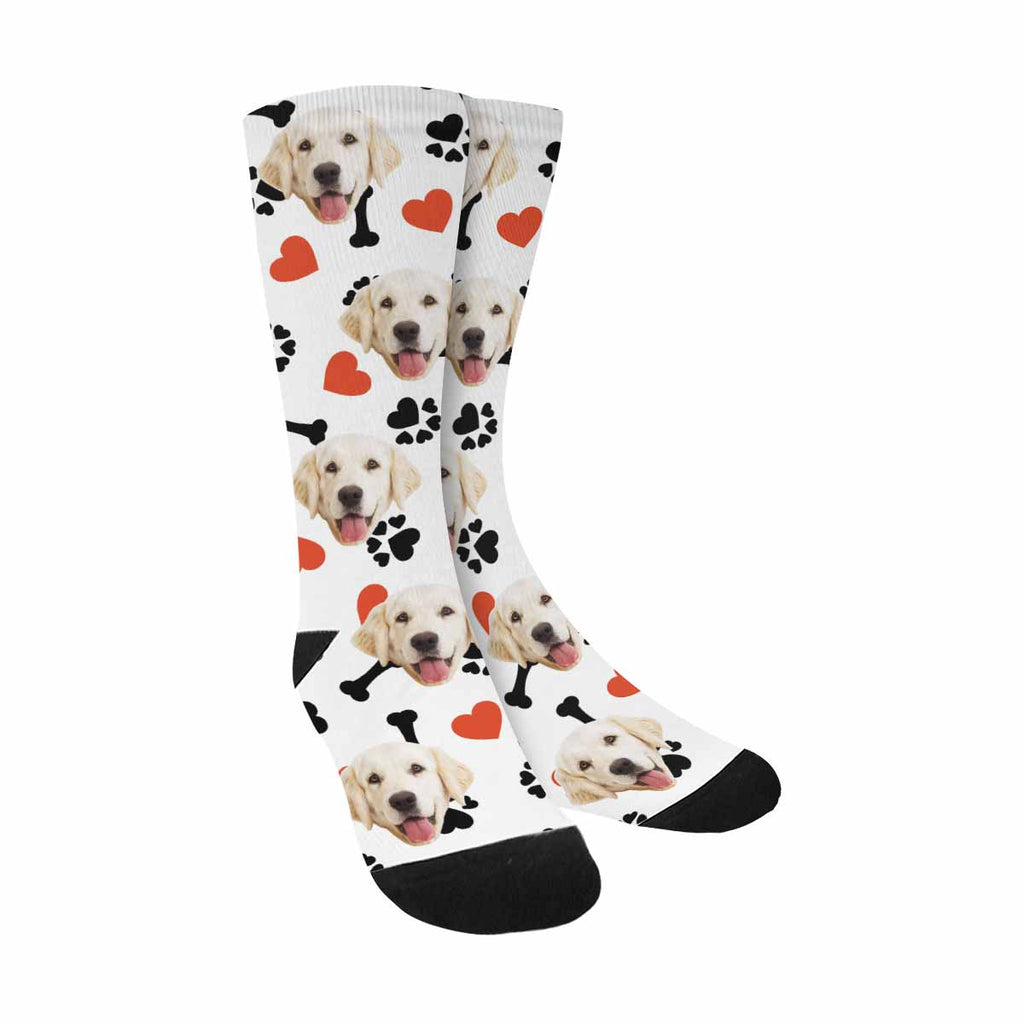 Custom Printed Photo Dog Bone Paw Dog Socks, Heart