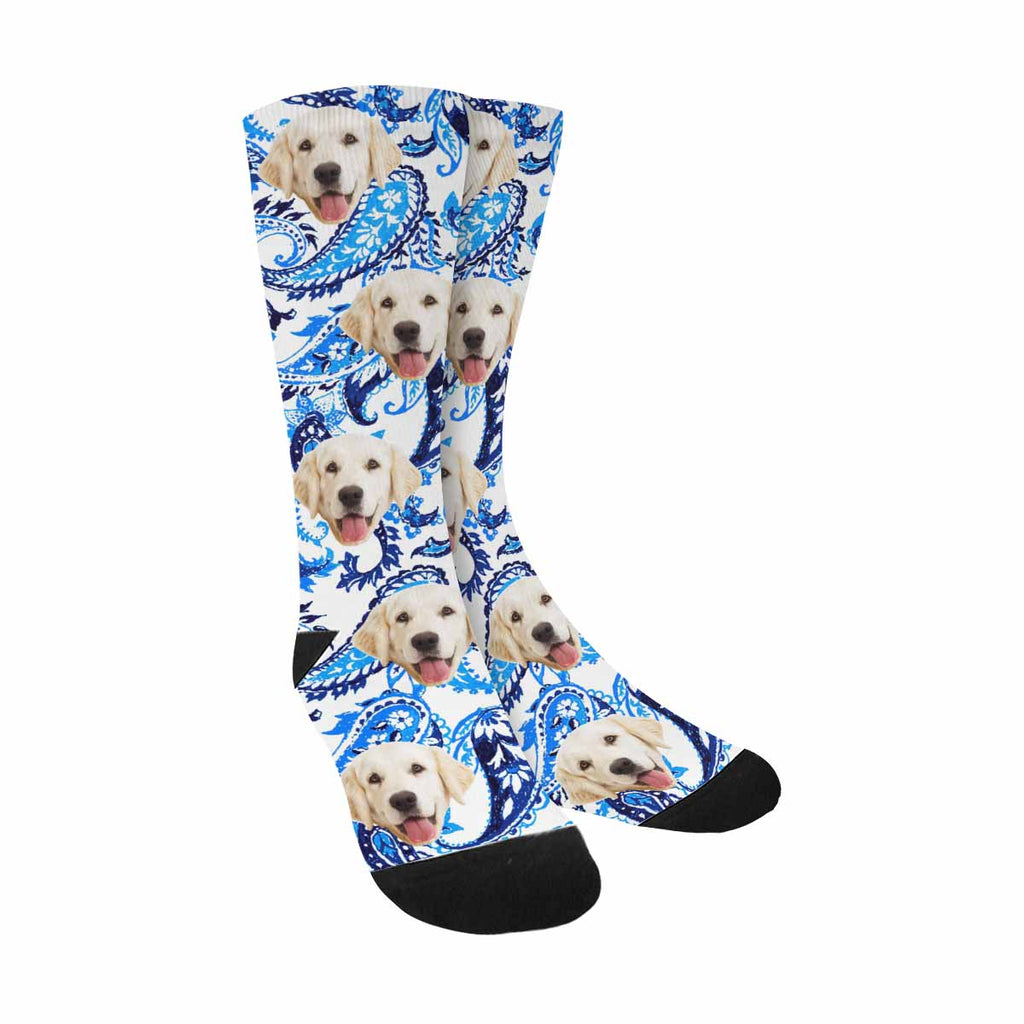 Personalized Photo Asiab Paisley Dog Socks, Indigo