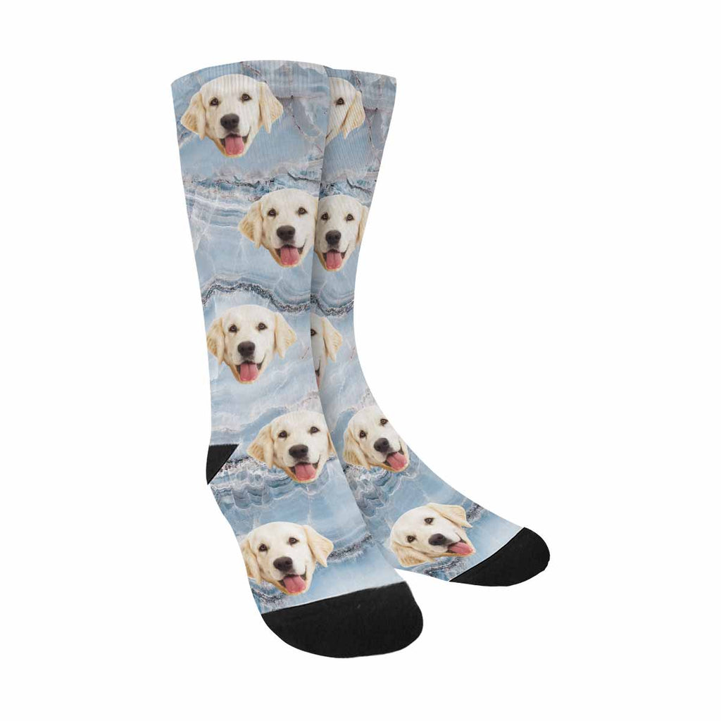 Custom Picture Natural Blue Marble Pup Socks