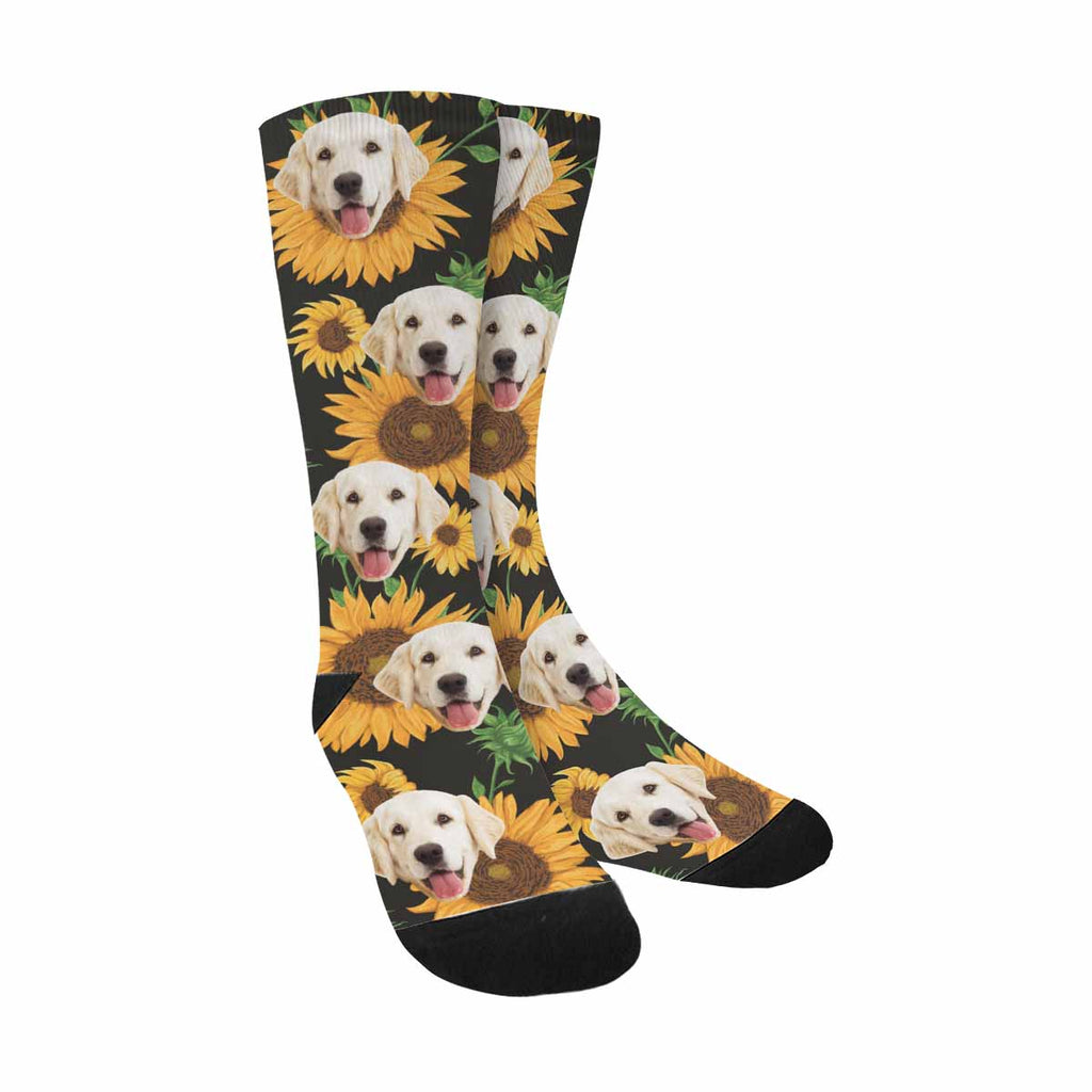 Custom Photo Sunflowers Dog Socks