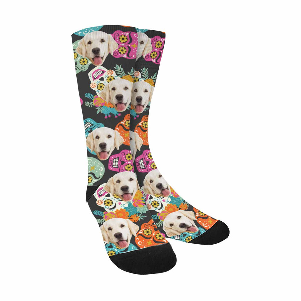 Personalized Photo Traditional Sugar Skull Pet Socks, Beautiful Floral