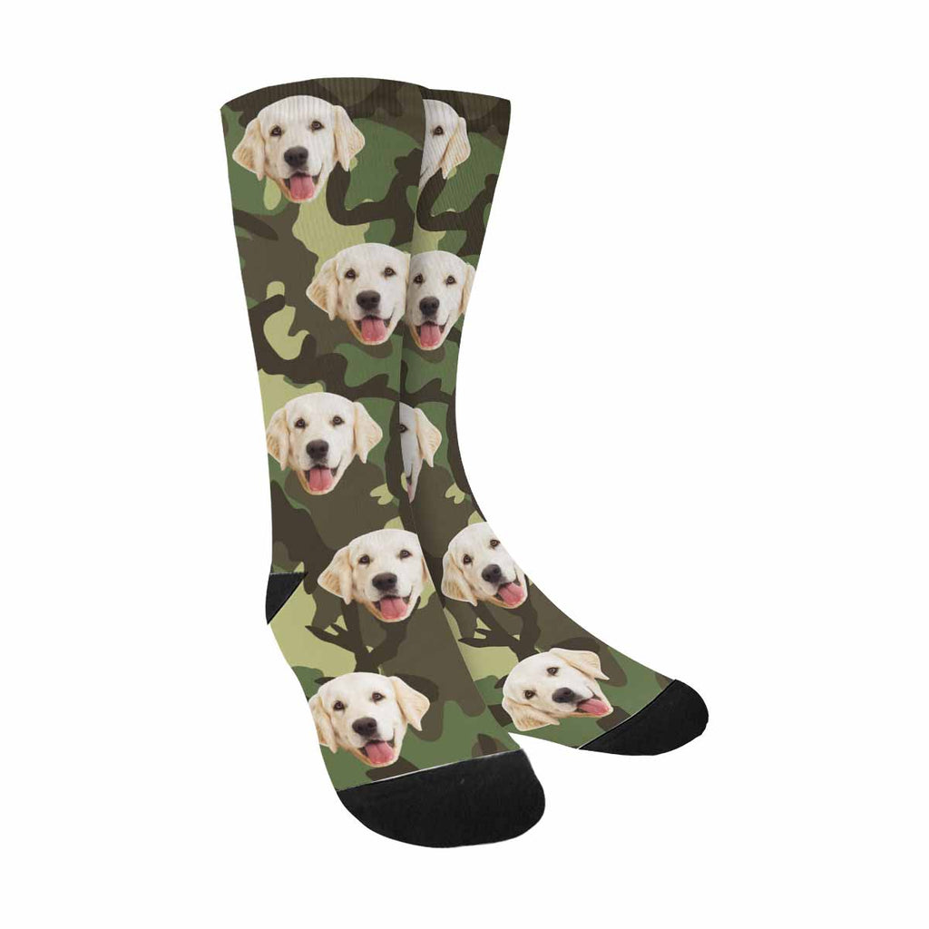Custom Printed Photo Camouflage Pup Socks, Shapes of Foliage and Branches