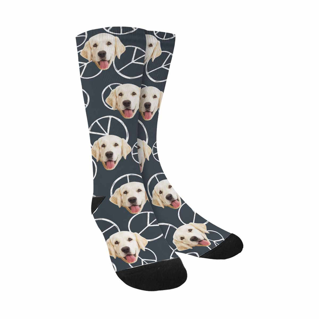 Personalized Picture Peace Sign Dog Socks, Hippy Pacific Sign