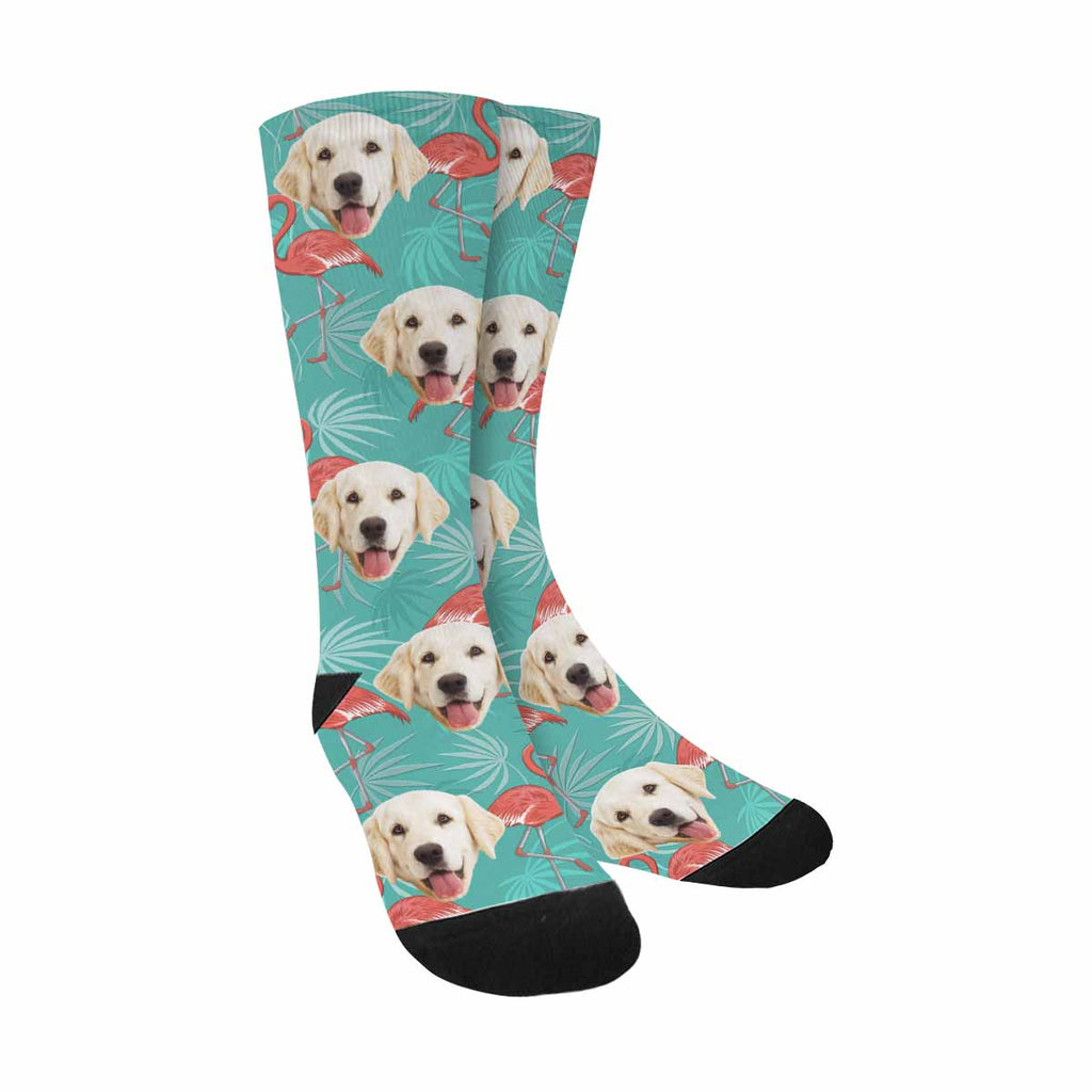Personalized Picture Flamingo Dog Socks, Birds and Leaves