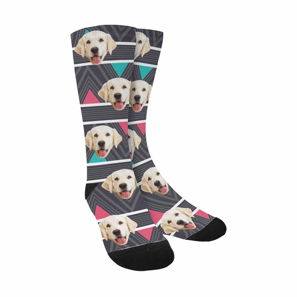 Custom Photo Stripes Dog Socks, Hipster Chevron