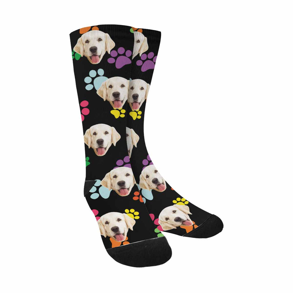 Personalized Picture Color Dog Paw Pup Socks