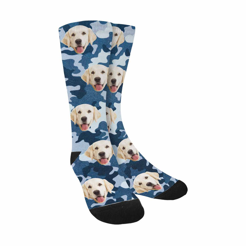 Personalized Picture Blue Camouflage Dog Socks