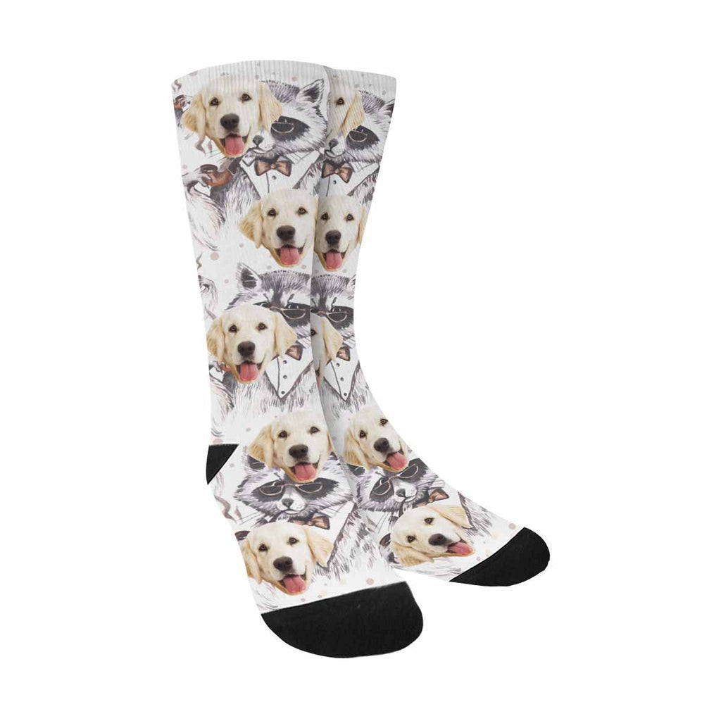 Personalized Picture Watercolor Raccoons Pup Socks