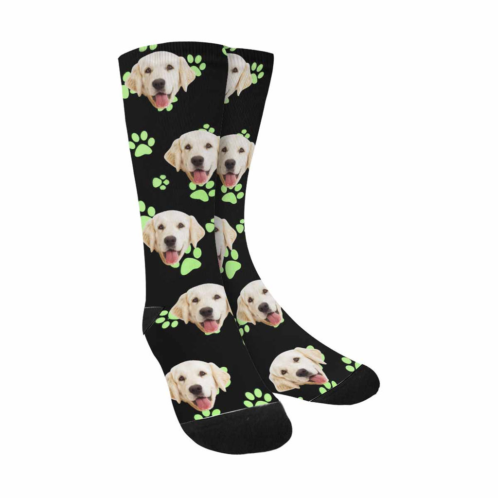 Personalized Picture Green Animal Paw Pet Socks
