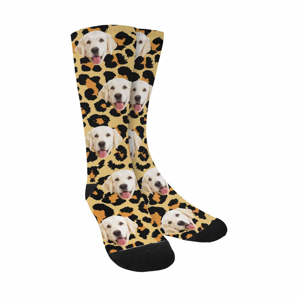 Custom Printed Picture Leopard Pup Socks