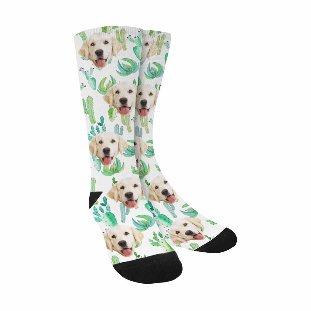Custom Photo Green Cactus Pet Socks, Tropical Floral Herbal