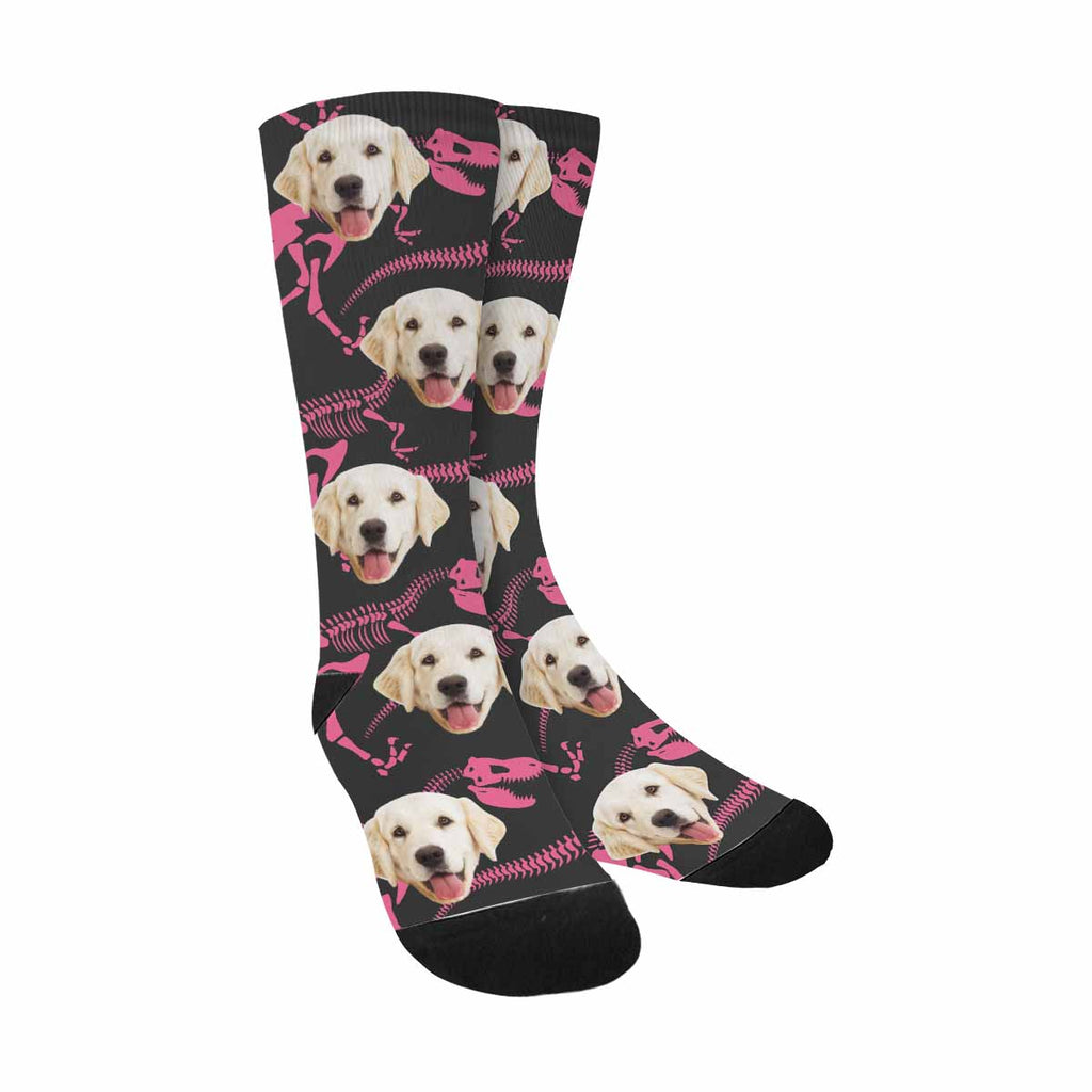 Custom Printed Dinosaur Photo Pet Socks, Bones