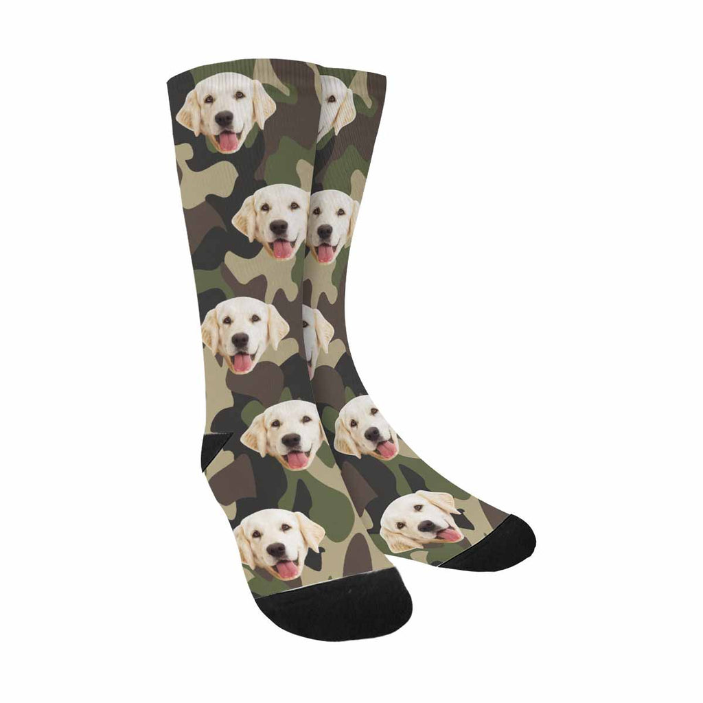Personalized Picture Camouflage Dog Socks, Classic Camo Green