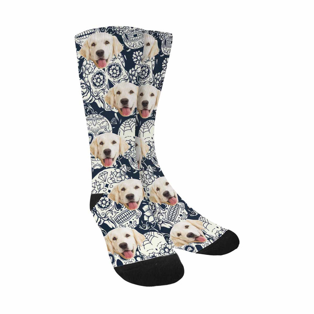Personalized Picture Day Of The Dead Sugar Skull Dog Socks, Floral