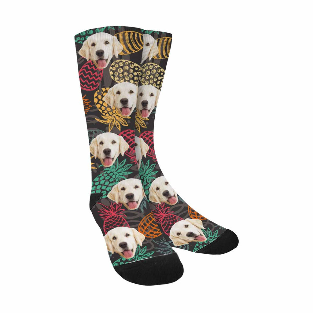 Custom Printed Photo Pineapples Dog Socks, Fruits