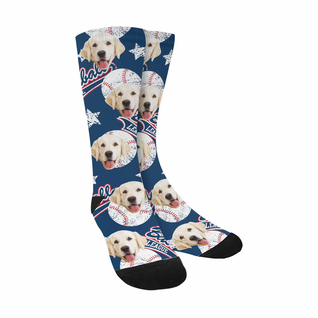 Custom Photo Baseballs Dog Socks, Stars