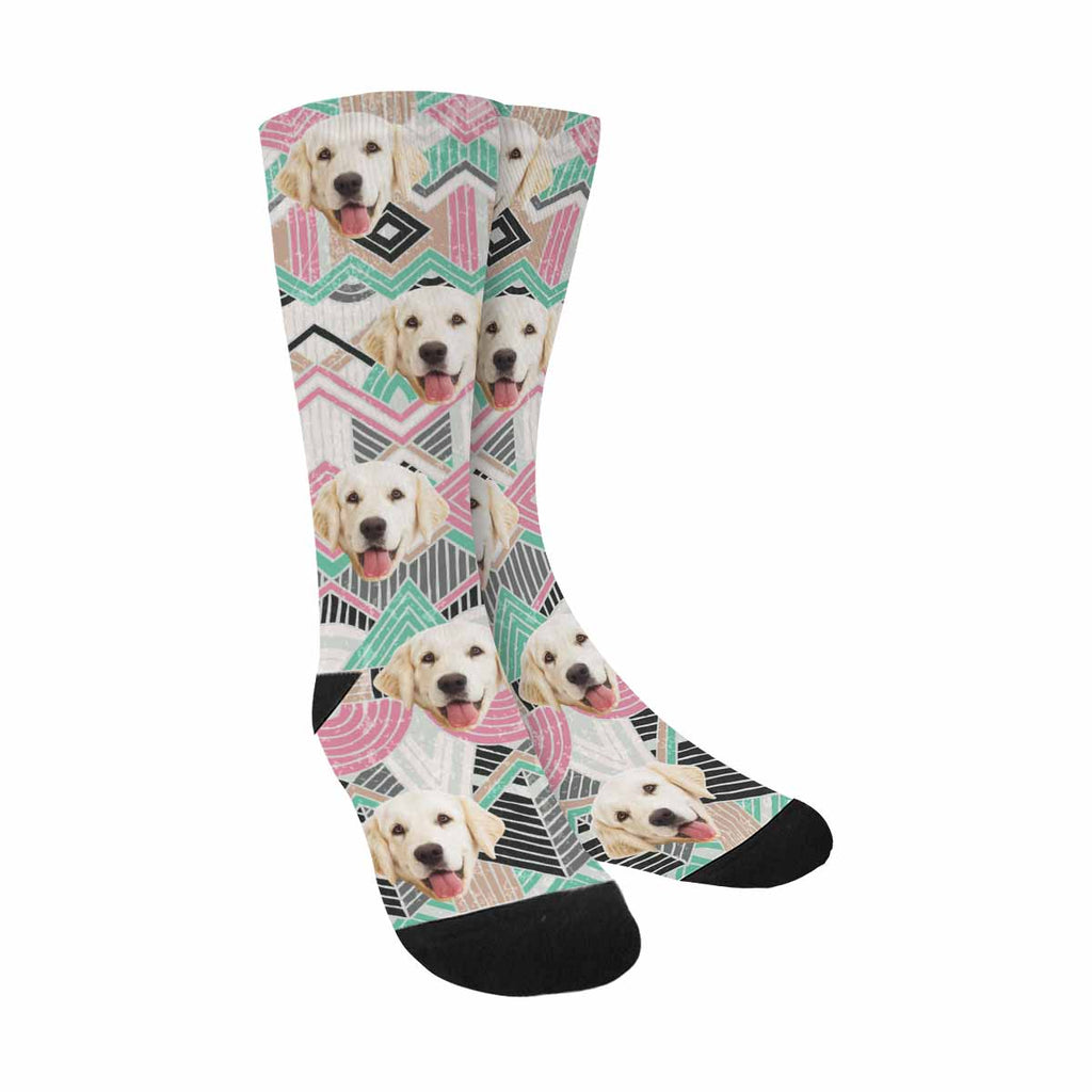 Personalized Picture Navajo Dog Socks, Ethnic Geometric