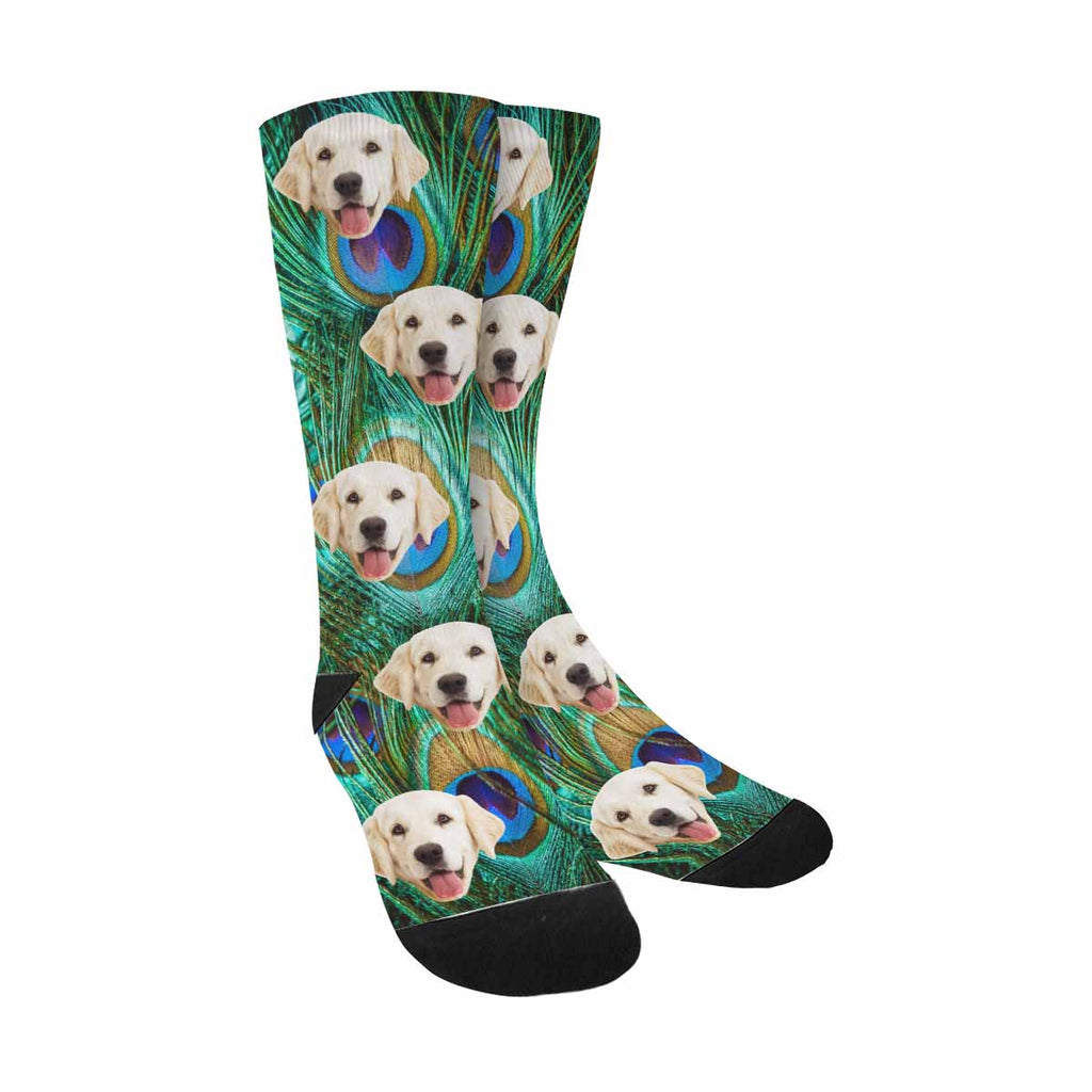 Custom Printed Photo Peacock Feather Pup Socks, Colorful