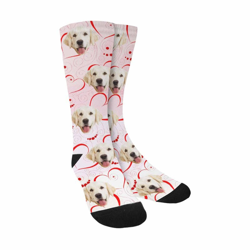 Personalized Photo Hearts Dog Socks, Valentine's Day
