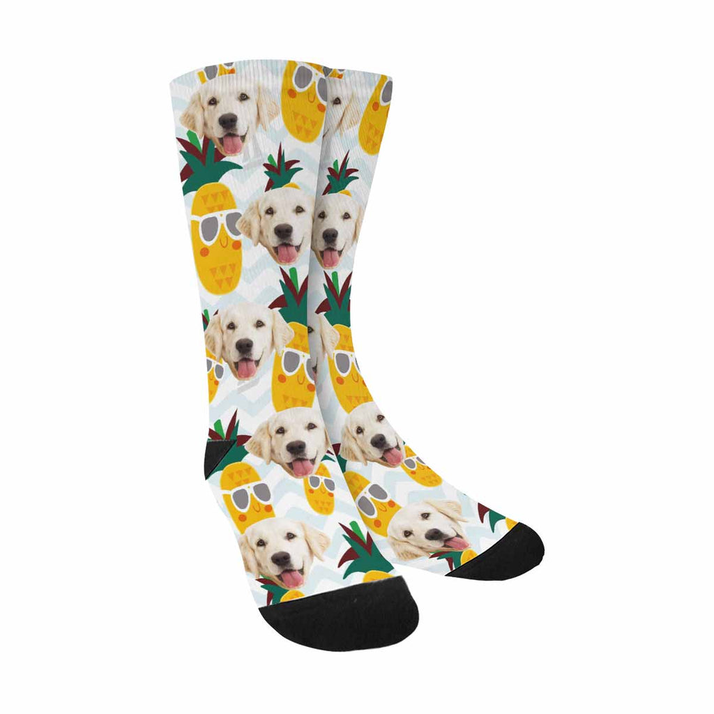 Personalized Picture Cute Adorable Pineapples Pet Socks, Blue Stripes