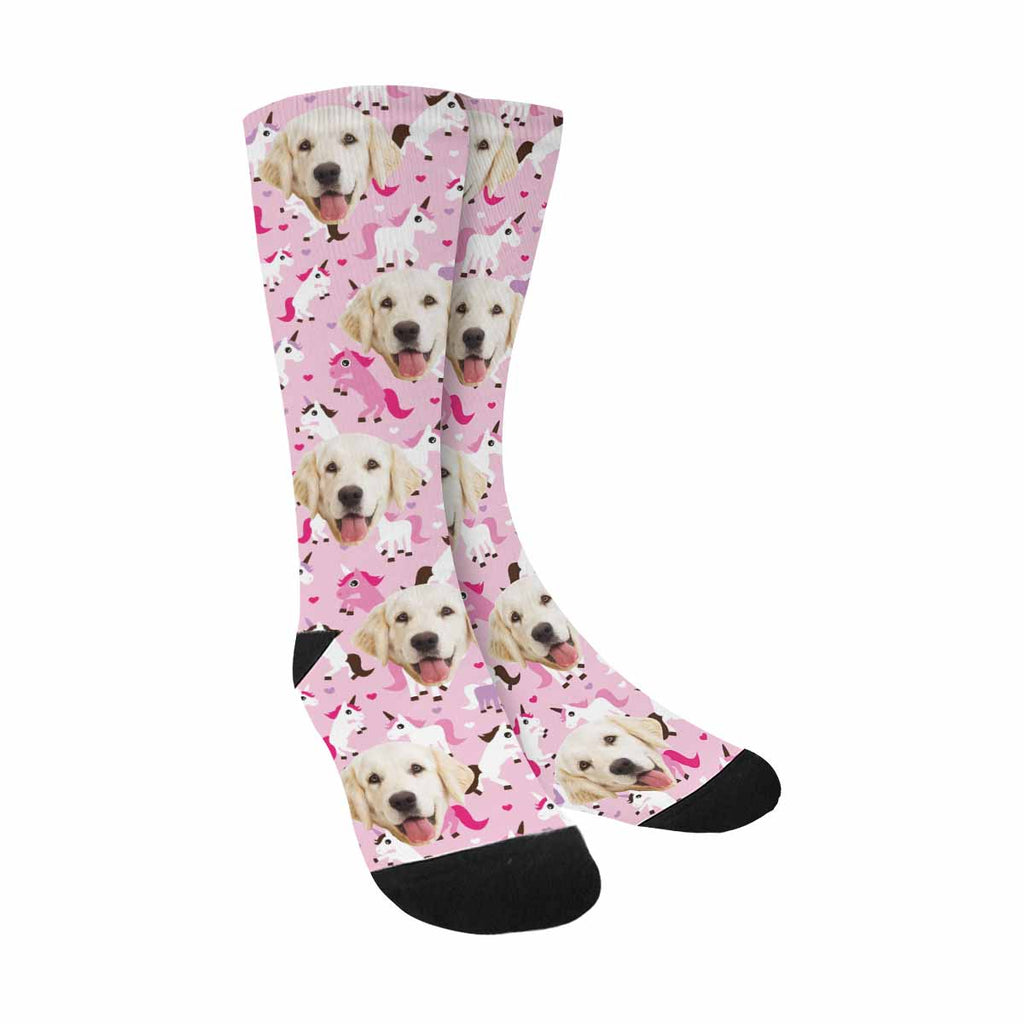 Custom Printed Photo Unicorns Dog Socks, Hearts on Pink