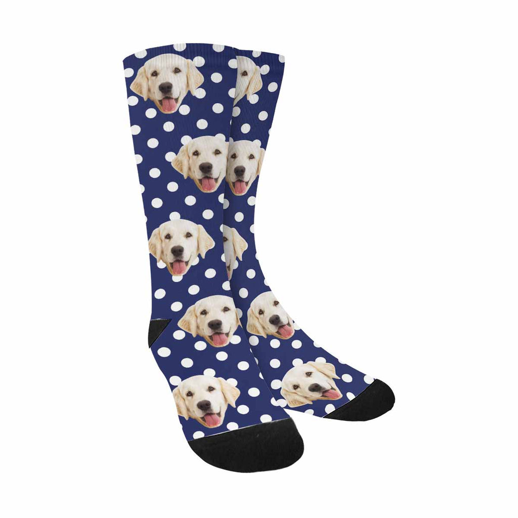 Personalized Picture White Polka Dots Dog Socks, Sailor Navy Blue Background