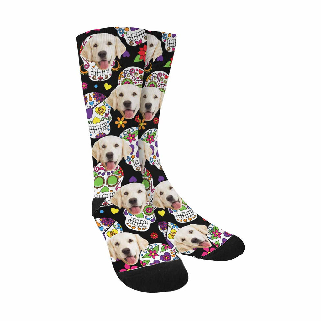 Personalized Picture Day Of The Dead Sugar Skull Pup Socks, Flowers