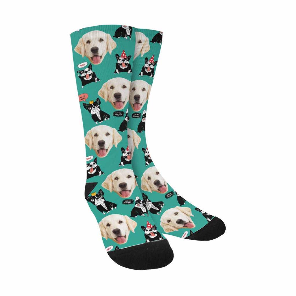 Personalized Picture Dog French Bulldog Dog Socks, Happy Animals