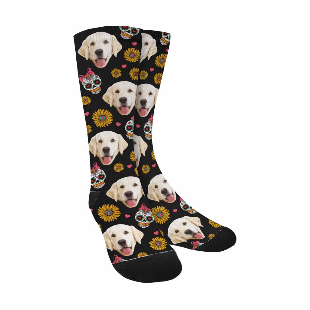 Custom Printed Mexican Skulls Photo Pet Socks, Daisies