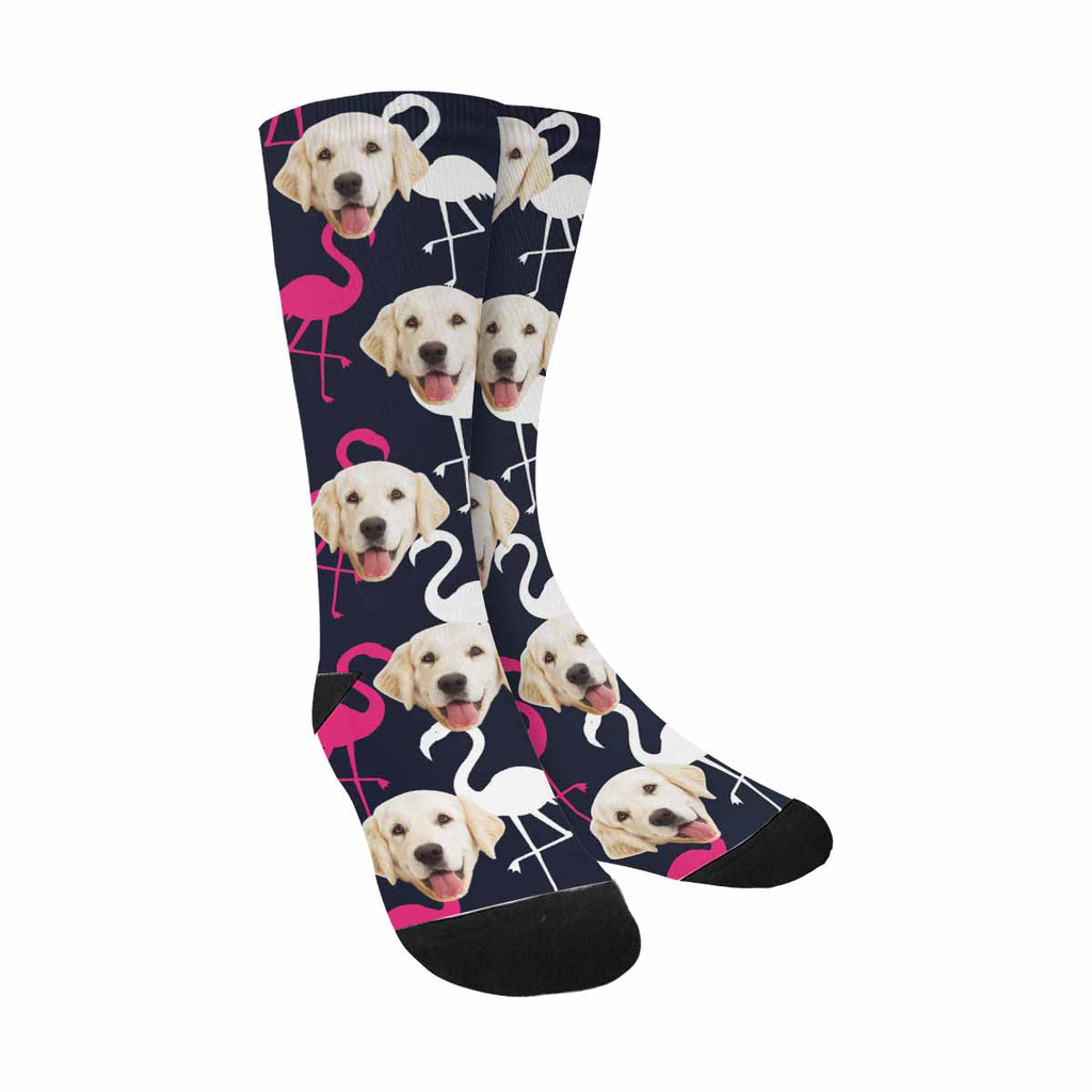 Custom Photo Flamingo Dog Socks, Graphic Tropical White and Pink Birds