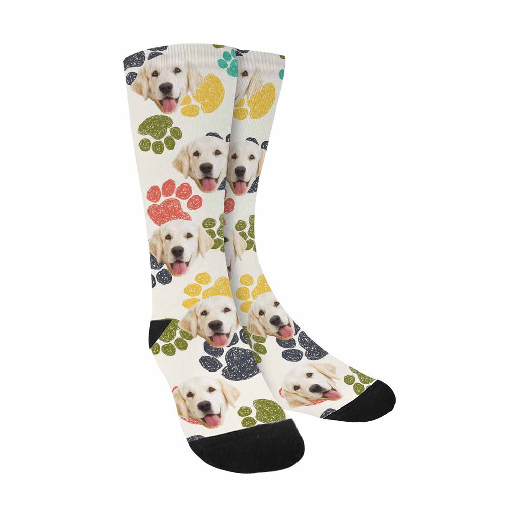 Custom Printed Photo Cute Paw Pup Socks, Colorful