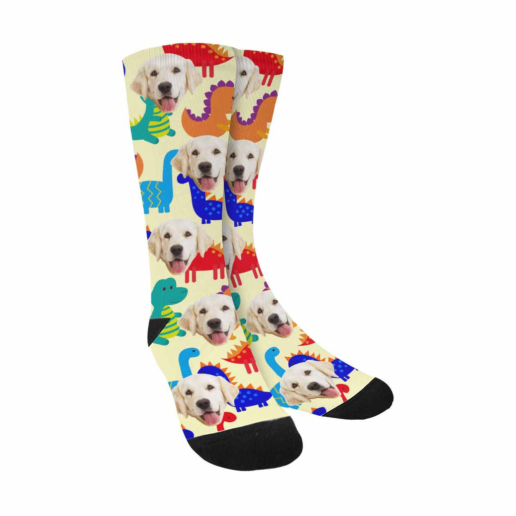 Custom Printed Cute Colorful Dinosaurs Pet Socks