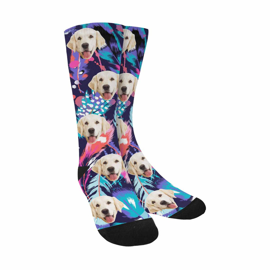 Custom Printed Feathers Dog Socks