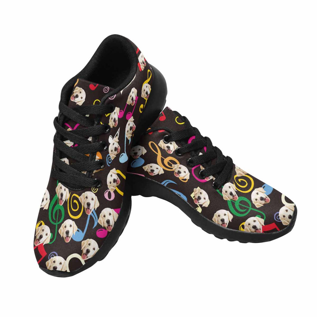 Custom Printed Photo Color Music Notes Women's Pup Sneakers Hearts