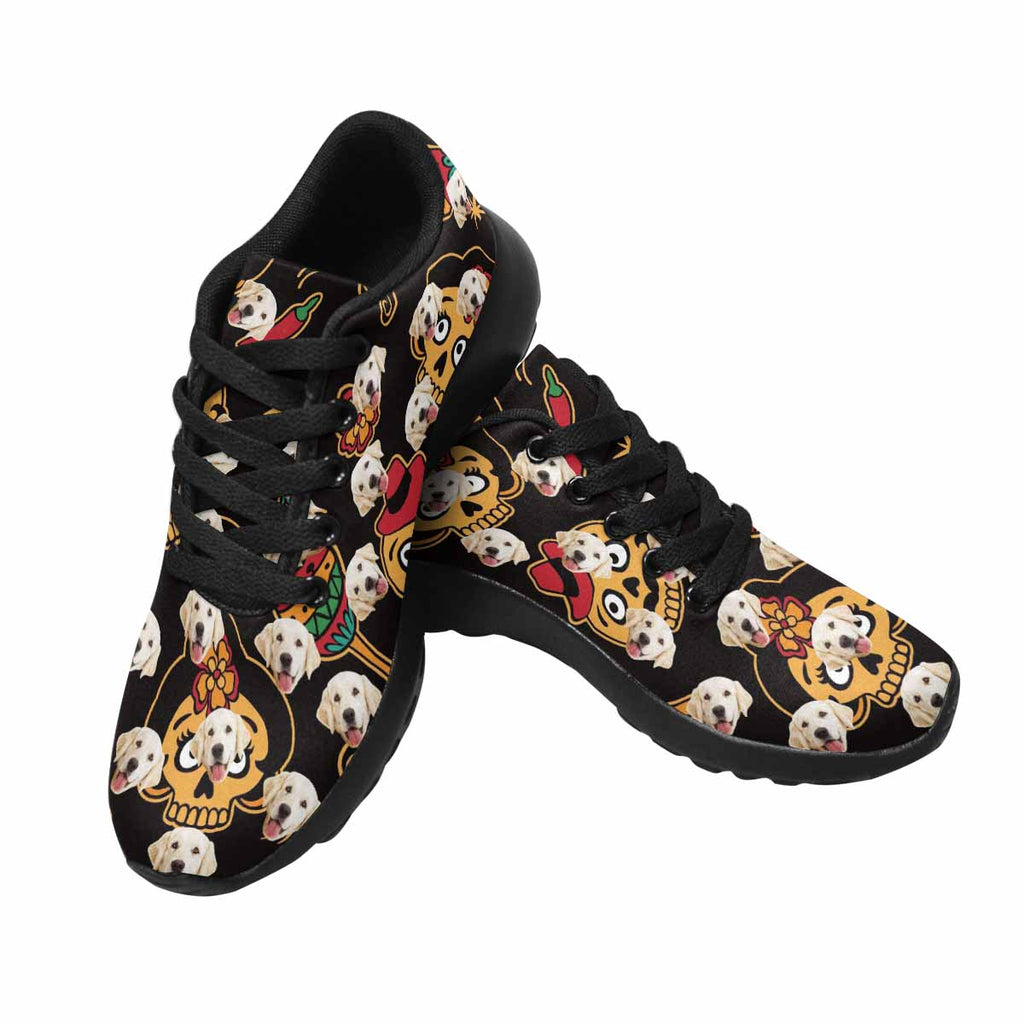 Personalized Photo Sugar Skull Women's Pup Sneakers
