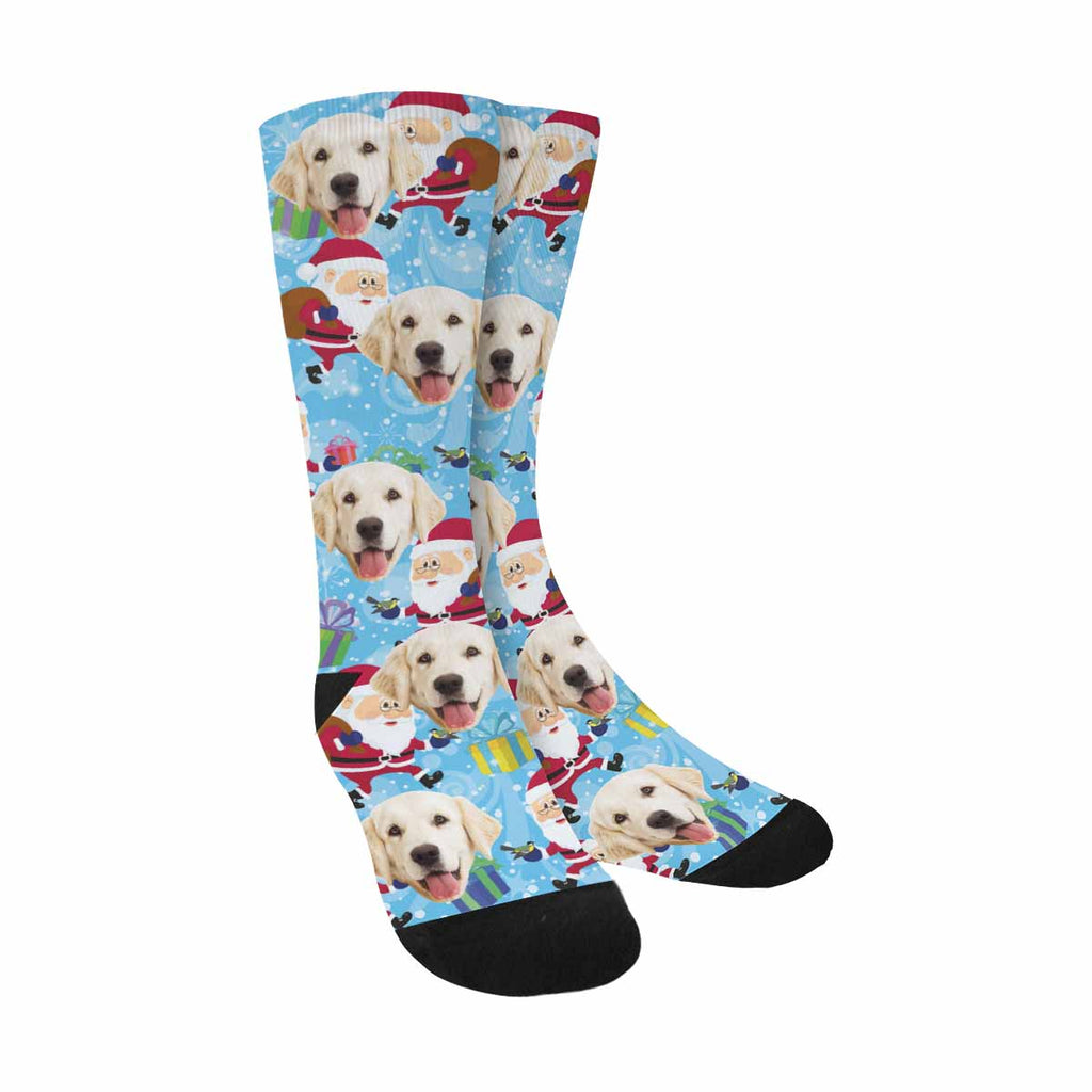 Personalized Photo Cartoon Santa Clauses Pet Socks, Christmass