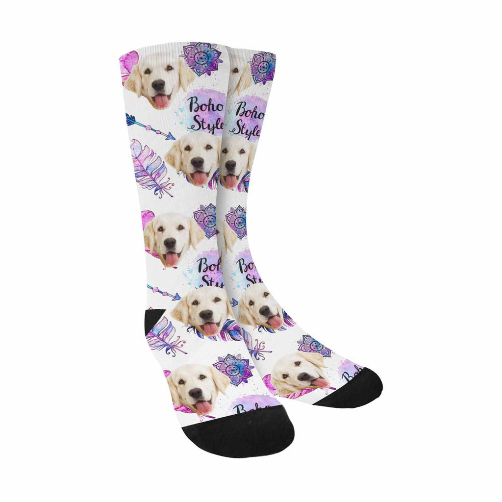 Custom Picture Dreamcatcher Feathers Dog Socks