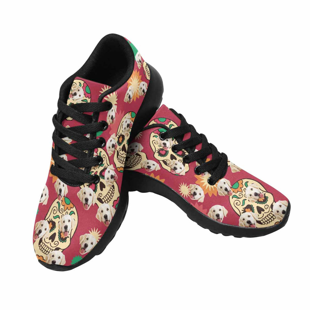 Personalized Picture Sugar Skull Women's Pup Sneakers Flowers